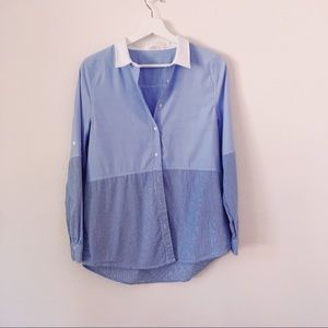 Millau Blue Button Down Blouse with Pinstripe Sz S